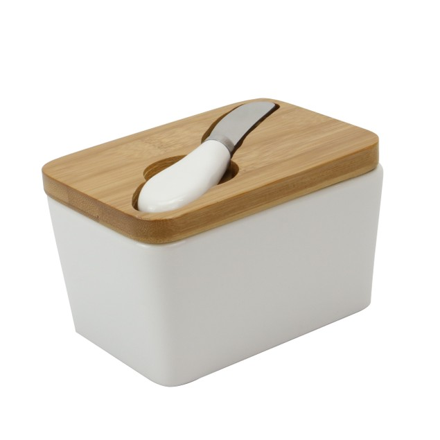Porcelain Butter Dish with Knife | MandW