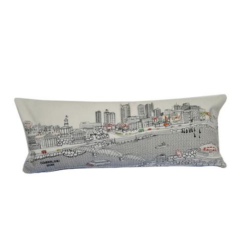 Spura Home Nashville Skyline Embroidered Wool Cushion Day/Night Setting