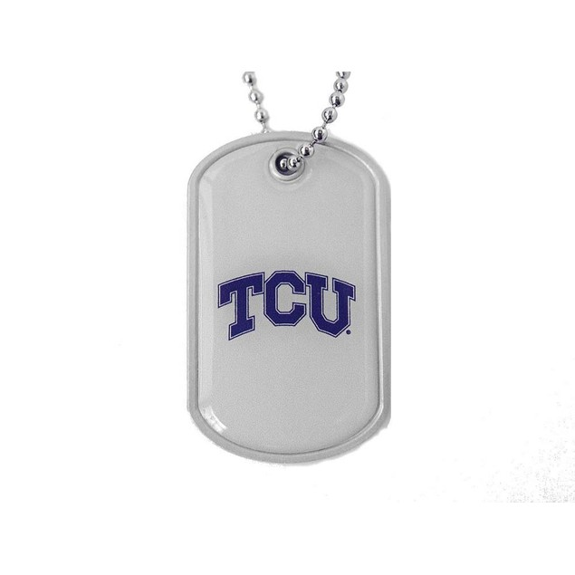 Tcu Horned Dog Tag Necklace Charm Chain NCAA