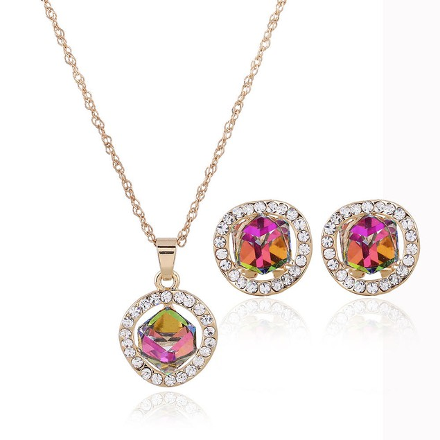 Mystic Gem Earring and Necklace Set