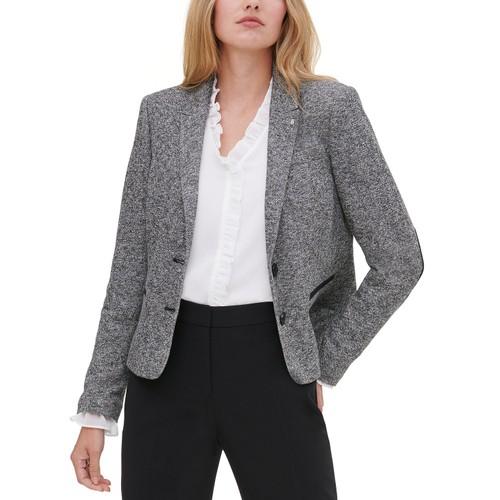 Tommy Hilfiger Women's Marled Peak-Lapel Blazer Gray Size 2