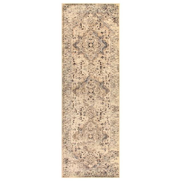 Nysa Modern Polypropylene Oriental Floral Medallion Indoor High Traffic Rug