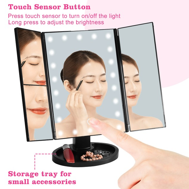 Makeup Mirror with Lights 22 LEDs Vanity with 3X/2X Magnification