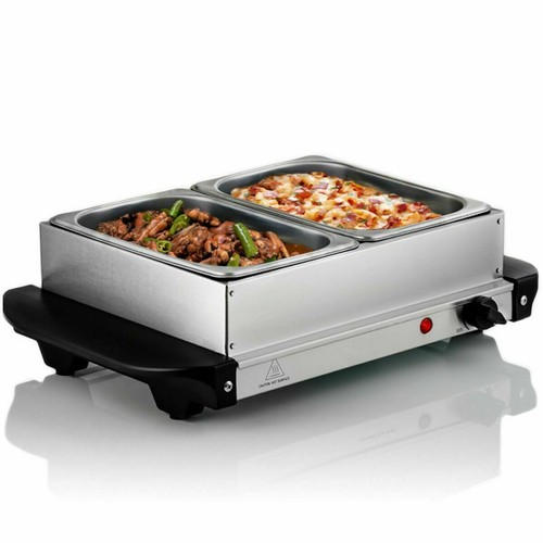 Stainless Steel Electric Food Buffet Server Warmer Two 1.58Qt Chafing Dish