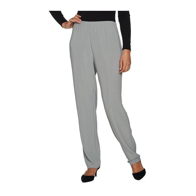 Susan Graver Essentials Lustra Knit Petite Skinny Pants, PS, Storm Grey
