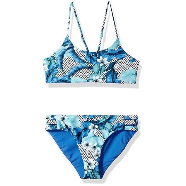 Seafolly Big Girls' Reversible Tankini Swimsuit, Hawaii Blue, SZ 10 Au