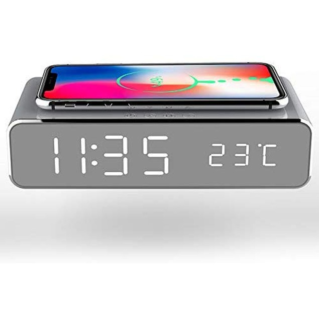 LED Alarm Clock with Qi Charger and Thermometer