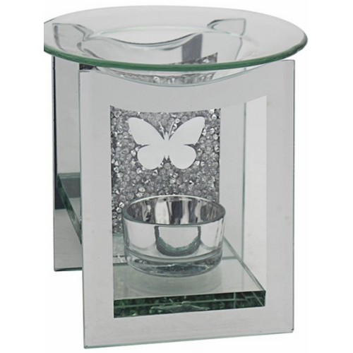 Mirror Crystal Oil Burner Butterfly Design By Lesser and Pavey