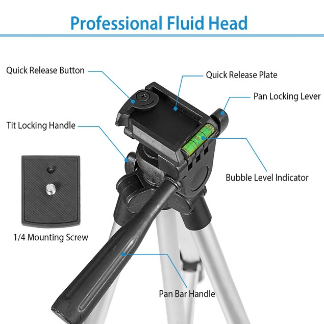"Portable Camera Tripod 45"" Adjustable Camera Stand Folding"