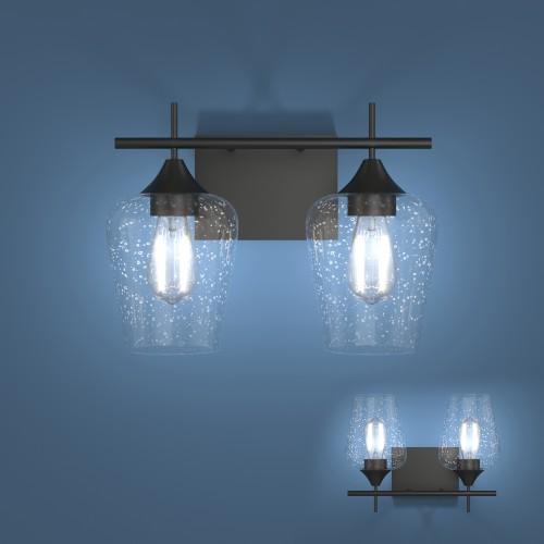 Costway 2-Light Wall Sconce Modern Bathroom Vanity Light Fixtures w/ Clear
