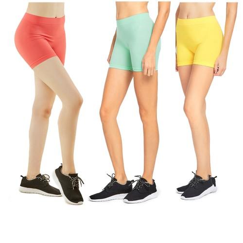 """3-Pack: Women's 12"""" Seamless Leggings Biker Shorts"""