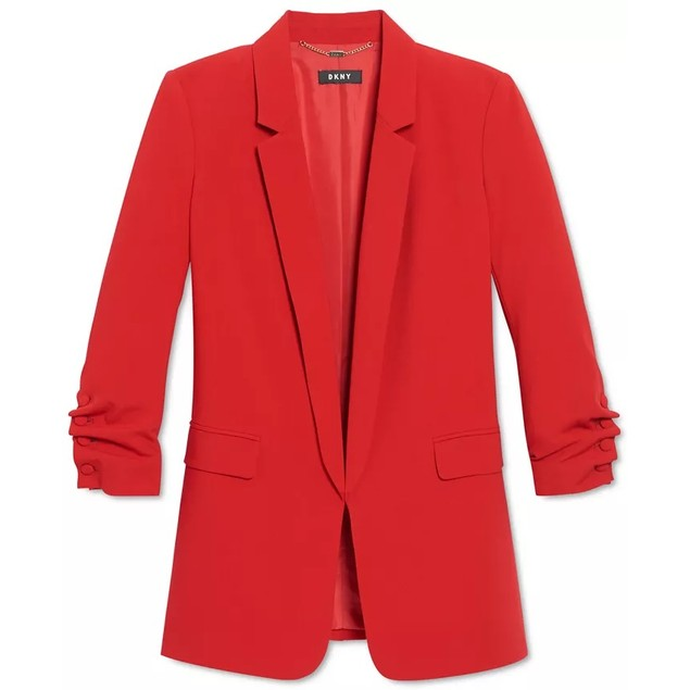 DKNY Women's Ruched-Sleeve Blazer Red Size 2