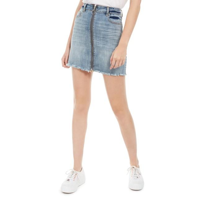 Indigo Rein Women's Juniors' Zippered Denim Skirt Blue Size 11