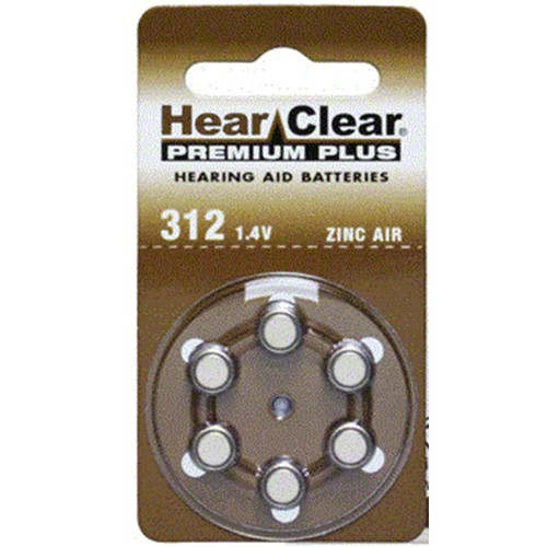 HearClear Size 312 MF Zinc Air Hearing Aid Batteries (60 pack)