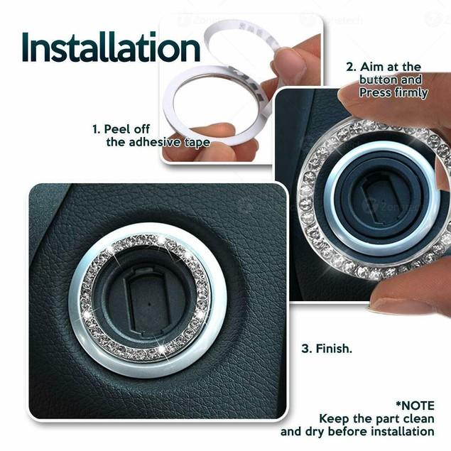 Zone Tech Bling Steering Wheel Cover License Plate Frame Ring Sticker