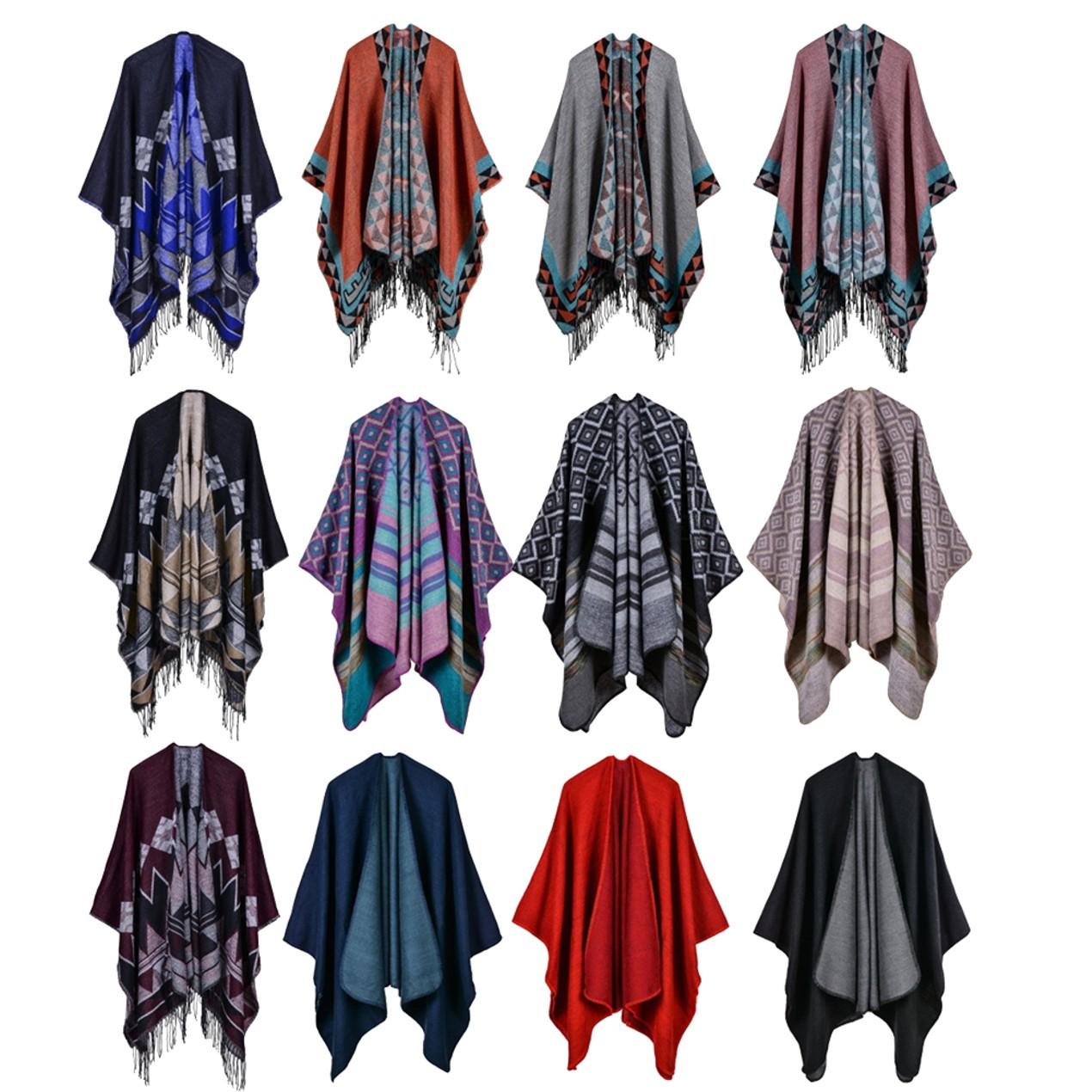 Urban CoCo Women's Color Block Shawl Wrap Open Front Poncho Cape - Tanga