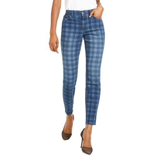 INC International Concepts Women's Plaid Skinny Jeans Blue Size 6