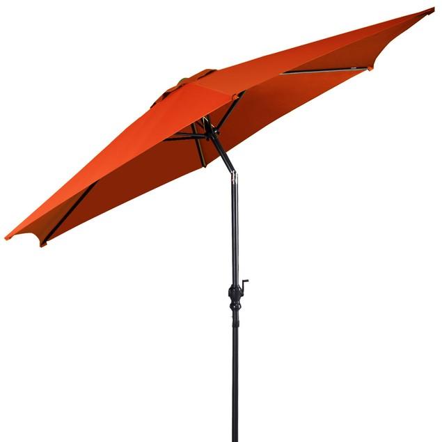 9FT Patio Umbrella Patio Market Steel Tilt W/ Crank