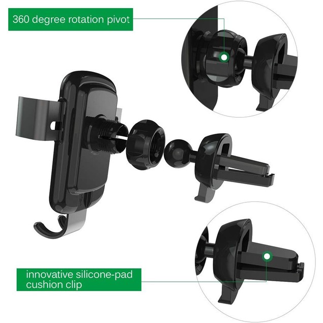 Wireless Car Charger & Mount For iPhone, Samsung and Qi Devices