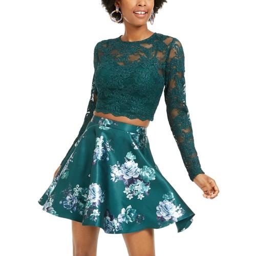 City Studios Juniors' 2-Pc. Lace Top & Floral-Print Skirt Dark Green Size 3