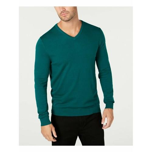 Alfani Men's V-Neck Sweater Green Size XX Large