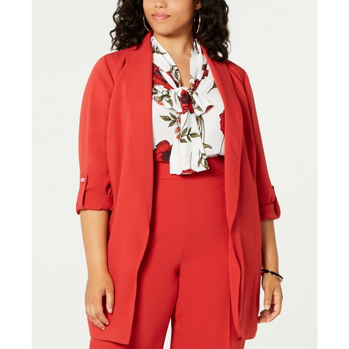 Bar III  Women's Plus Size Belted Shawl-Collar Jacket  Wine / Red Size 3X