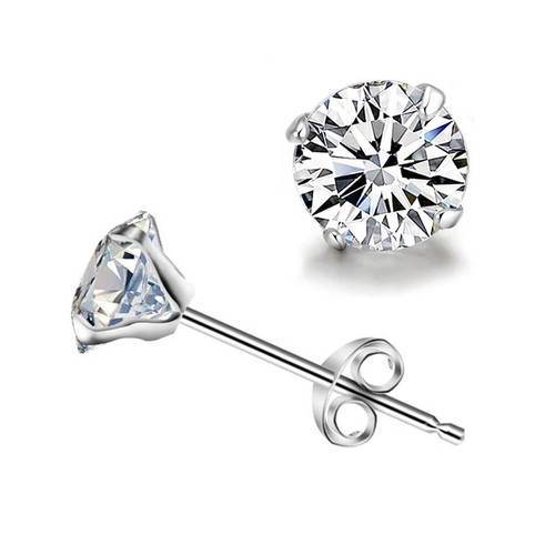 Sterling Silver and Genuine Crystal Round Stud Earring