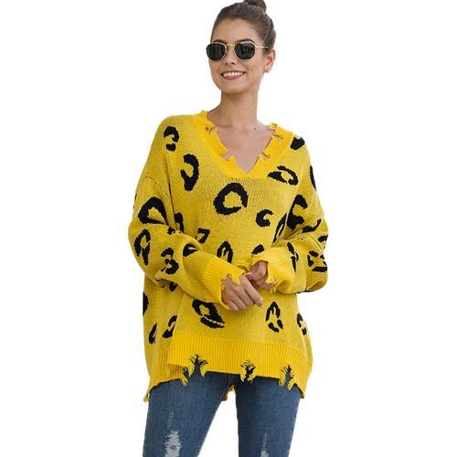 Women's Leopard Print V-Neck Ripped Sweater
