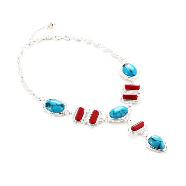 Novadab Turquoise Coral Tear Drop Necklace