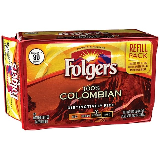 Folgers 100% Colombian Ground Coffee Refill 2 Pack