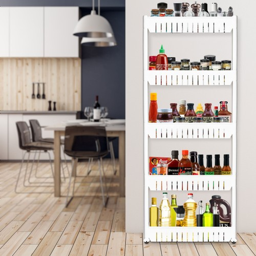 Rolling Storage Cart Pull Out 5 Tier Pantry Cabinet Slide Out Shelf