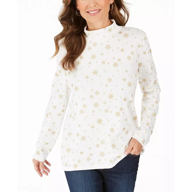 Karen Scott Women's Snowy Glory Mock Neck Top White Size Large