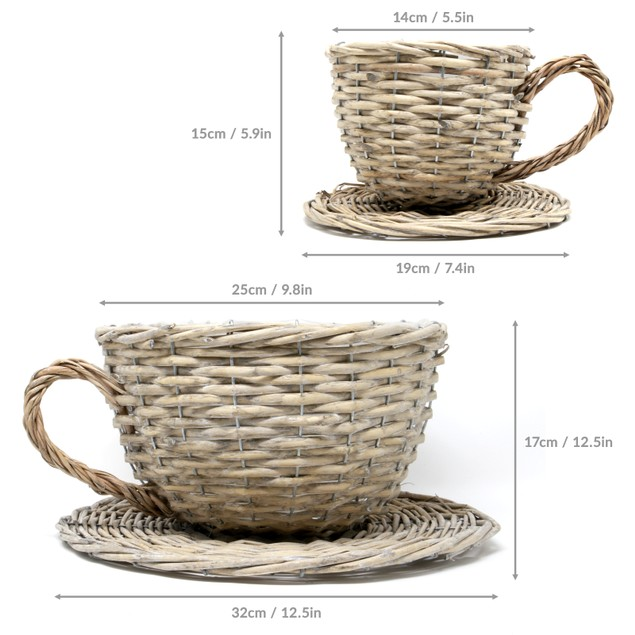 Set of 2 Willow Teacup Planters | MandW