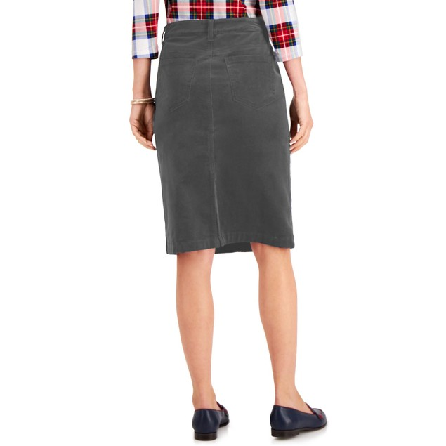 Charter Club Women's Corduroy Tummy-Control Skirt Gray Size 18