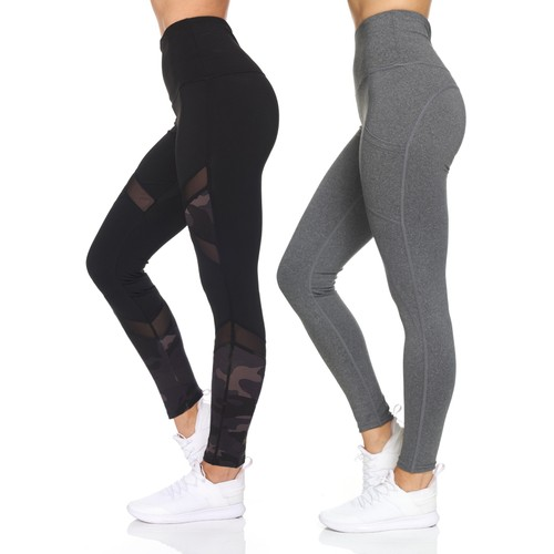Women's 2 Pack High Waist Camo & Solid Leggings With Mesh Details & Pockets