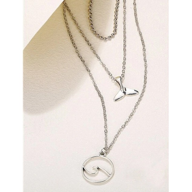 Layered Good Luck Dolphin Tail Ocean Wave Necklace