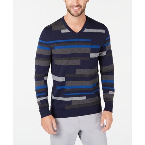 Alfani Men's Textured Striped V-Neck Sweater Dark Blue Size 2 Extra Large