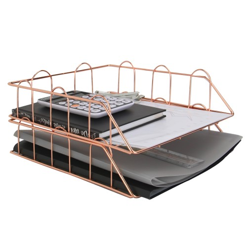 A4 Wire Filing Trays   MandW Rose Gold