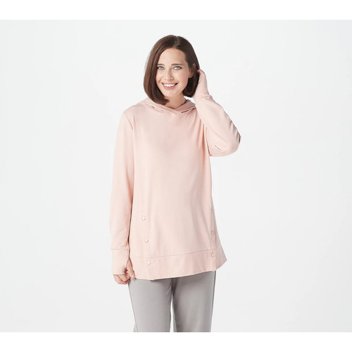 Anybody French Terry Sweatshirt with Side Snaps, Hood, Small, Pink Sands