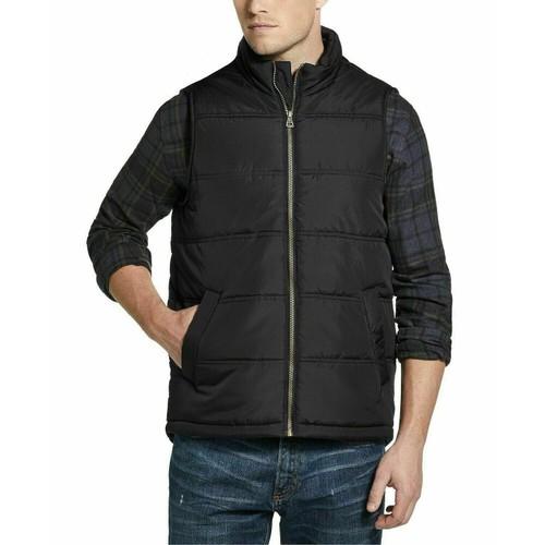 Weatherproof Vintage Men's Zip-Front Vest Black Size Large