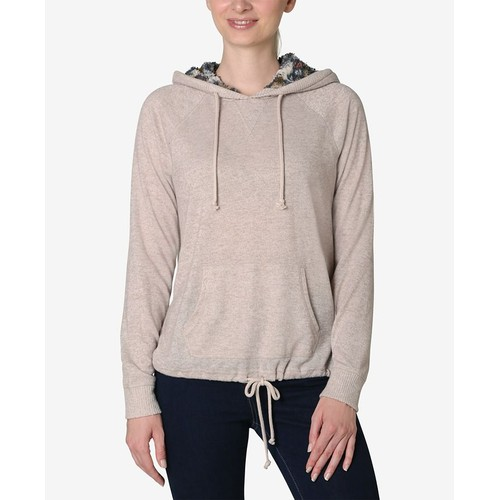 Ultra Flirt Juniors' Sherpa Lined Hoodie Brown Size Extra Large