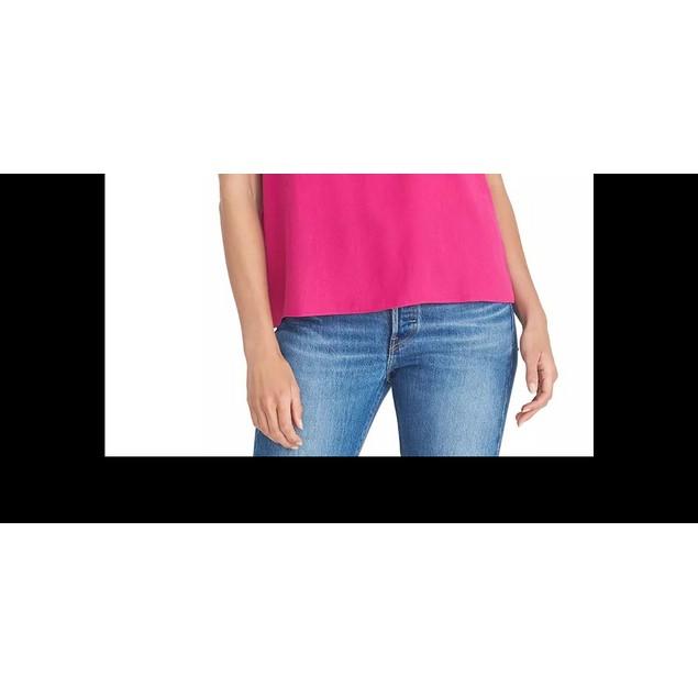 Rachel Rachel Roy Women's Mesh Yoke Sleeveless Top Dark Pink Size X-Large
