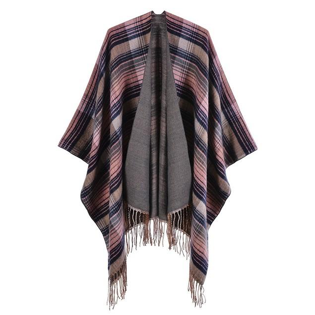 Ladies Colorful Plaid Shawl Warm Cloak