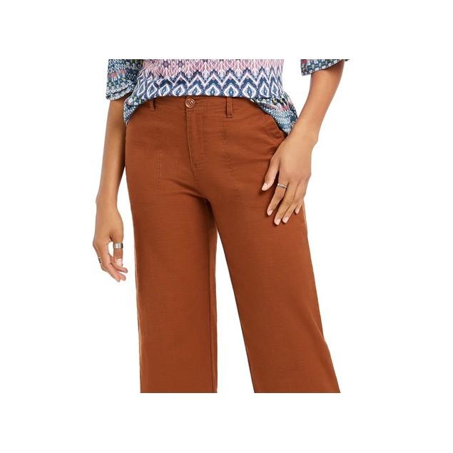 Style & Co Women's Wide Leg Cropped Pants Medium Brown Size 10