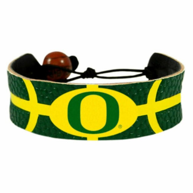 Oregon Ducks Team Color NCAA Gamewear Leather Football Bracelet
