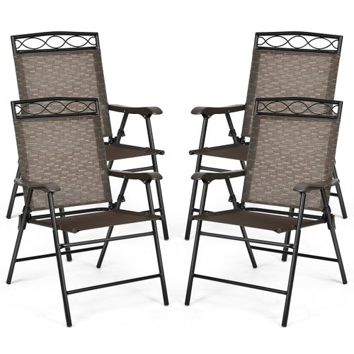 Costway Set of 4 Patio Folding Chairs Sling Portable Dining Chair Set w/ Ar