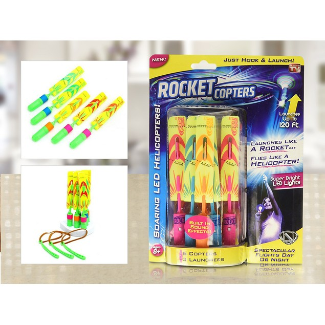 As Seen On TV Rocket Copters LED Slingshot Helicopters