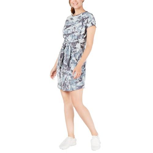 Ideology Women's Printed Tie-Front T-Shirt Dress Goblin Blue Size Medium