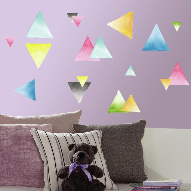 Roommates Wall Decorative Watercolor Triangle Peel and Stick Wall Decals