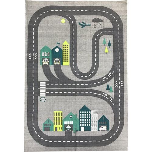 Novelty Roadmap Printed Carpet Kids Gray Area Rug 2x4 for Kids Room